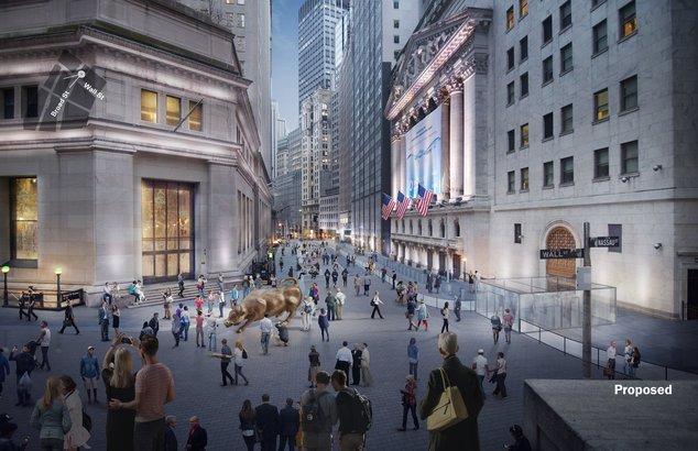 Artist-impression van de Charging Bull op Wall Street